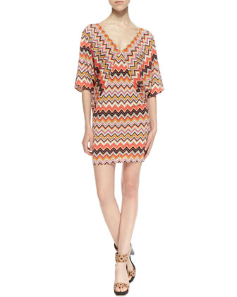 Patterson Three-Quarter Sleeve Zigzag Pattern Dress