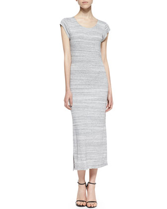 Amelia Open-Back Long T-Shirt Dress, Light Gray