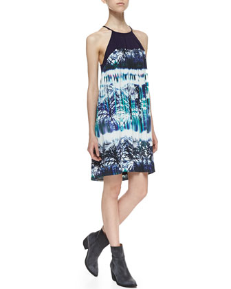 Laskie Faded Palm Print Shift Dress