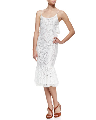Flounce Lace Slip Dress, White