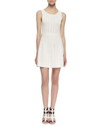 Marcela Mixed Eyelet Fit-And-Flare Dress, Chalk