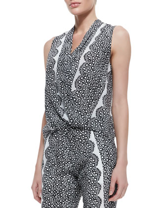 Sleeveless Aloe Print & Lace Faux-Wrap Top, Black/White