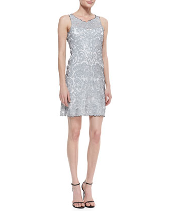 Sleeveless Liquid Light Sequined Dress, Silver