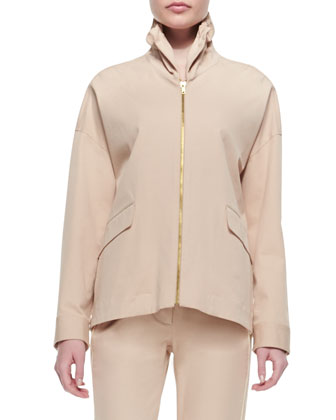 Stand-Collar Piped Jacket