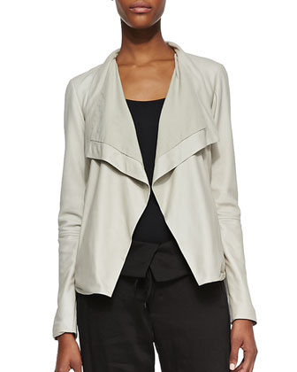 Drape-Front Open Leather Jacket