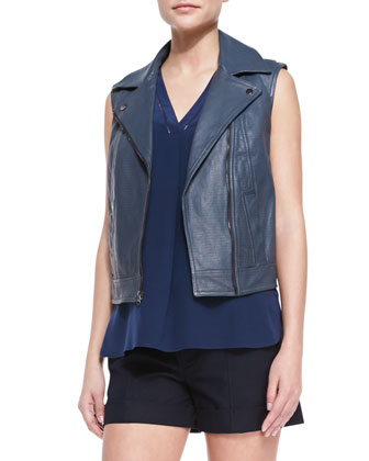 Embossed Leather Moto Vest, Sleeveless Silk V-Neck Top & Slim Cargo Shorts ...