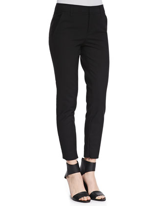 Slim Cropped Zipper-Cuff Pants, Black