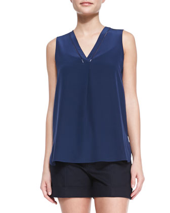 Sleeveless Silk V-Neck Top