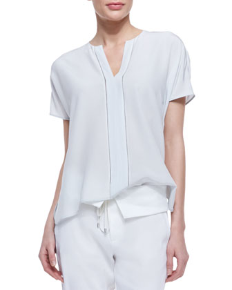 Split-Neck Silk Top & Fold-Over-Waist Ankle Trousers