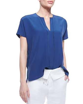 Split-Neck Silk Top, Royal Blue
