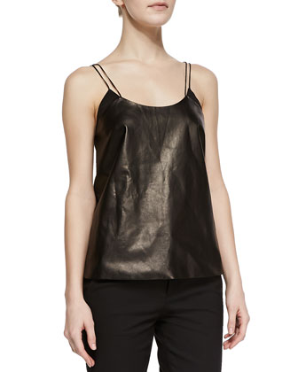 Leather & Silk Scoop-Neck Camisole, Black