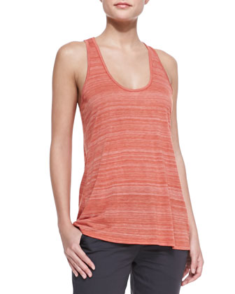 Striped Racerback Slub Tank, Chili