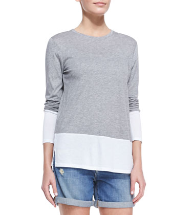 Colorblock Split-Hem Top, Heathered Dusk/White