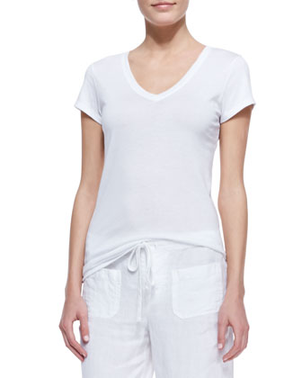 Cotton Short-Sleeve V-Neck Tee, White