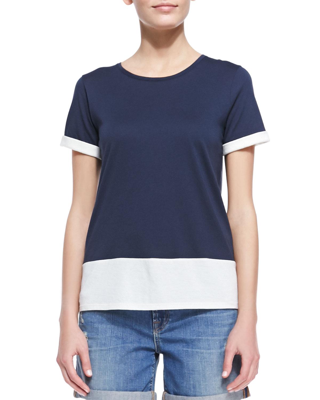 Womens Short Sleeve Colorblock T Shirt, Coastal/Papyrus   Vince