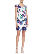Evan Cap-Sleeve Floral-Print Dress, Multicolor