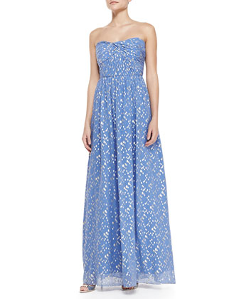 Jennifer Strapless Metallic Dot Gown, Periwinkle/Silver