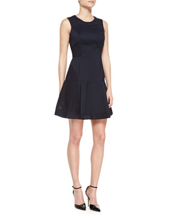 Sleeveless Eyelet Fit-and-Flare Dress, Blueberry