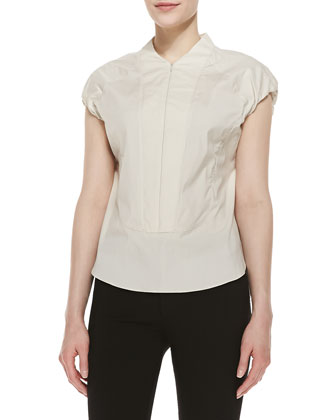 Cap-Sleeve Zip-Front Blouse