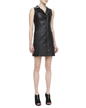 Leather Front-Zip Moto Dress
