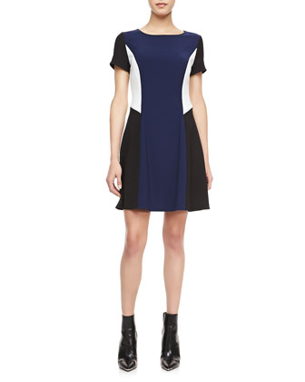 Angled Colorblock A-Line Dress