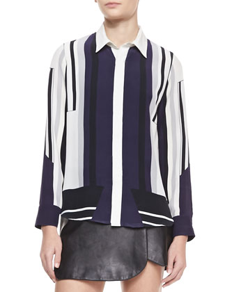Daft Long-Sleeve Printed Blouse, Navy/Black/Ivory