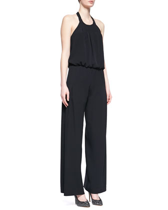 Pleated Wide-Leg Halter Jumpsuit