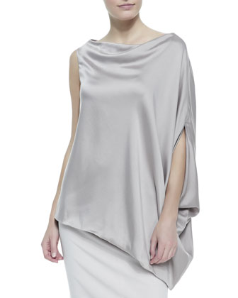 Charmeuse Silk Asymmetric Top