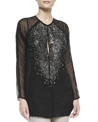 Crystal & Rings Chiffon Tunic, Black