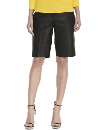 Double-Face Paper Leather & Cotton-Stretch Shorts