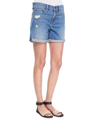 Colorblock Split-Hem Top & Distressed Denim Cuffed Boyfriend Shorts