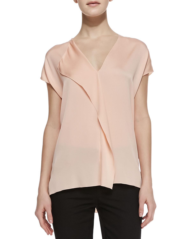 Womens Silk Cascade Cap Sleeve Blouse   Vince   Grapefruit (X SMALL)