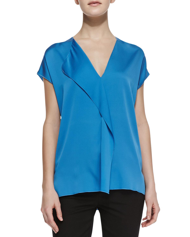 Womens Silk Cascade Cap Sleeve Blouse   Vince   Cote dazure (X LARGE)