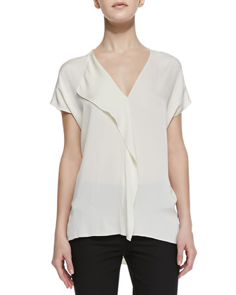 Cascade-Panel Stretch-Silk Blouse & Slim Cropped Zipper-Cuff Pants