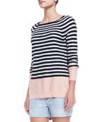 Colorblock Striped Sweater, Grapefruit