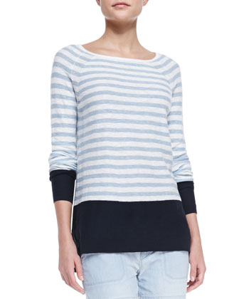 Colorblock Striped Sweater, Coastal