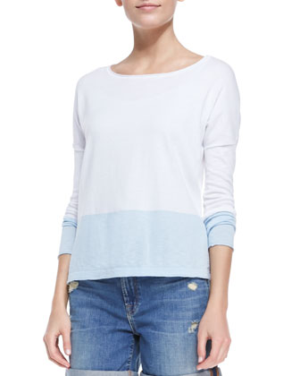 Colorblock Boat-Neck Slub Top