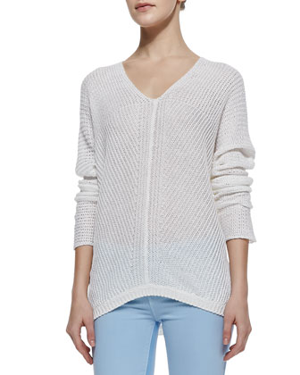 Stitched-Knit V-Neck Sweater