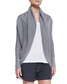 Shawl-Collar Linen Cardigan