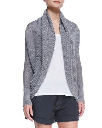 Shawl-Collar Linen Cardigan, Loose Sleeveless Jersey Tank & Cuffed Linen Shorts