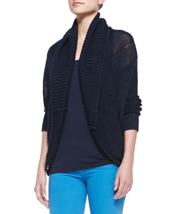 Rib-Trim Linen Circle Cardigan, Draped Scoop-Neck Tank & Riley Lightweight ...