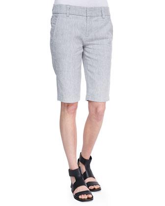 Boat-Neck Linen-Slub Tee & Side-Buckle Bermuda Shorts