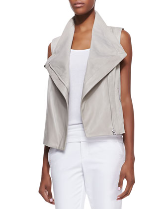 Leather/Knit Asymmetric Vest & Slim Cropped Zipper-Cuff Pants