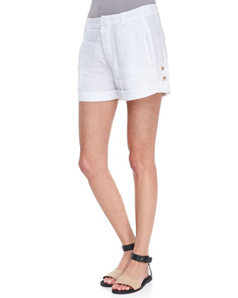Scoop-Neck Sleeveless Tank & Tab-Side Cuffed Linen Shorts