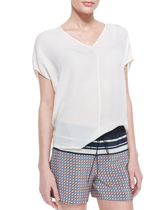 Silk Side-Arch V-Neck Top