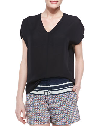 Silk Side-Arch V-Neck Top, Black