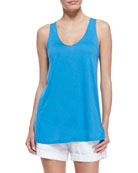 Scoop-Neck Sleeveless Tank, Cote d'Azure