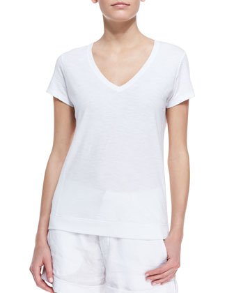 Cotton Short-Sleeve V-Neck Tee Shirt
