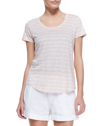 Striped Short-Sleeve Slub Tee, Tawny