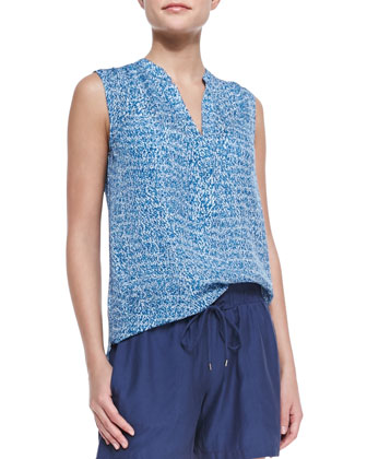 Static-Print Sleeveless Silk Blouse